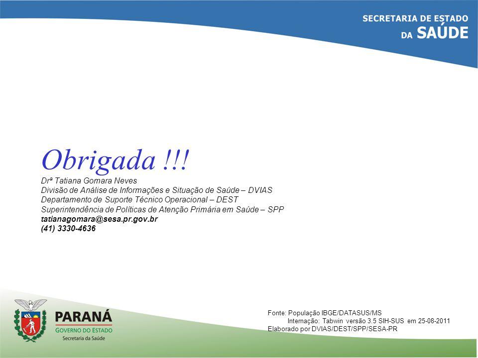Obrigada !!! Drª Tatiana Gomara Neves Divisão de Análise de Informações e Situação de Saúde – DVIAS Departamento de Suporte Técnico Operacional – DEST Superintendência de Políticas de Atenção Primária em Saúde – SPP tatianagomara@sesa.pr.gov.br (41) 3330-4636