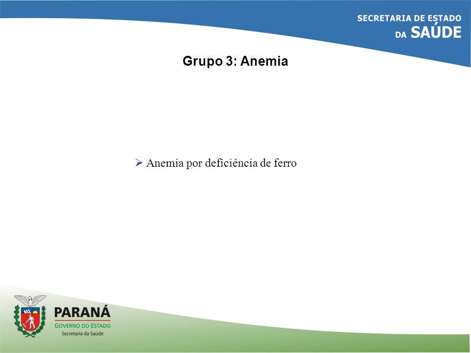 Grupo 3: Anemia Anemia por deficiência de ferro