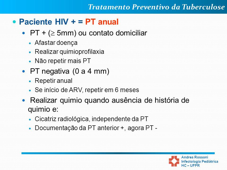 Paciente HIV + = PT anual