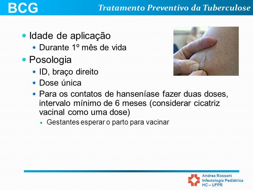 BCG Idade de aplicação Posologia Durante 1º mês de vida