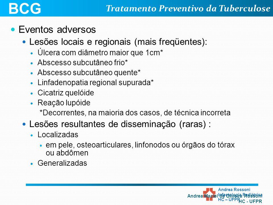 BCG Eventos adversos Lesões locais e regionais (mais freqüentes):