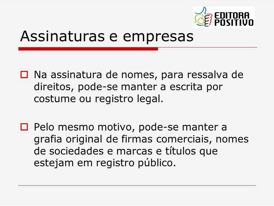 Assinaturas e empresas