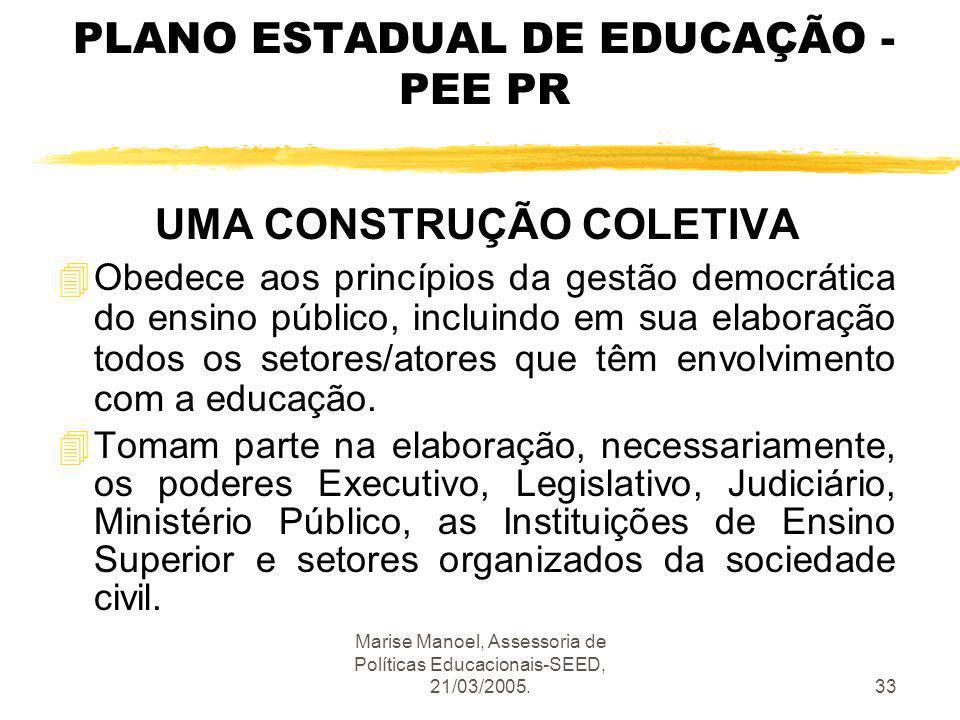 PLANO ESTADUAL DE EDUCAÇÃO - PEE PR