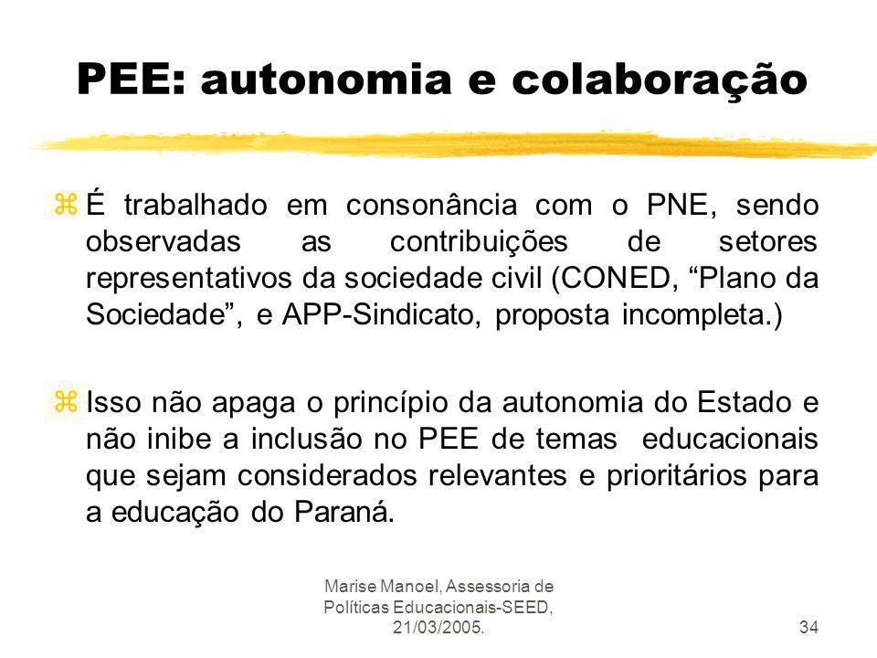 PEE: autonomia e colaboração