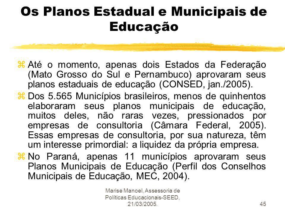 Os Planos Estadual e Municipais de Educação