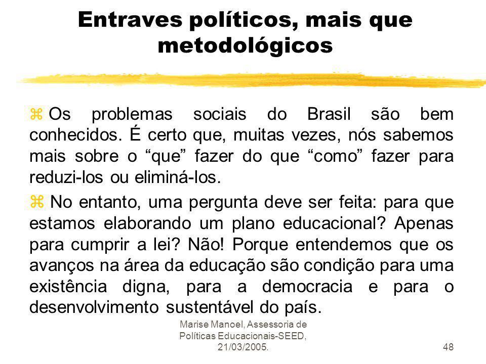 Entraves políticos, mais que metodológicos