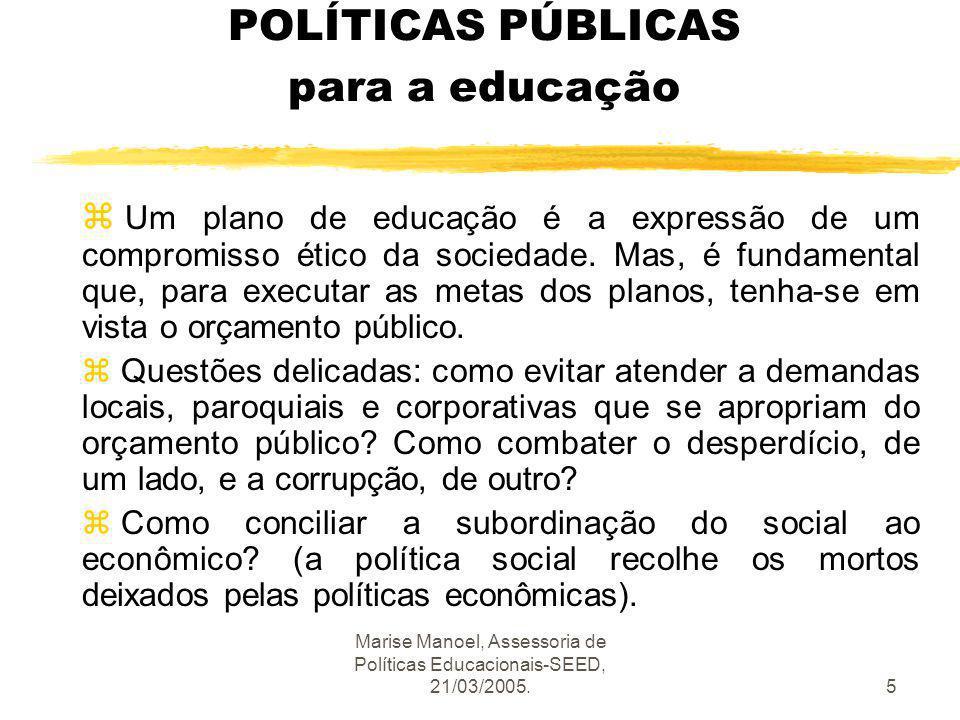POLÍTICAS PÚBLICAS para a educação