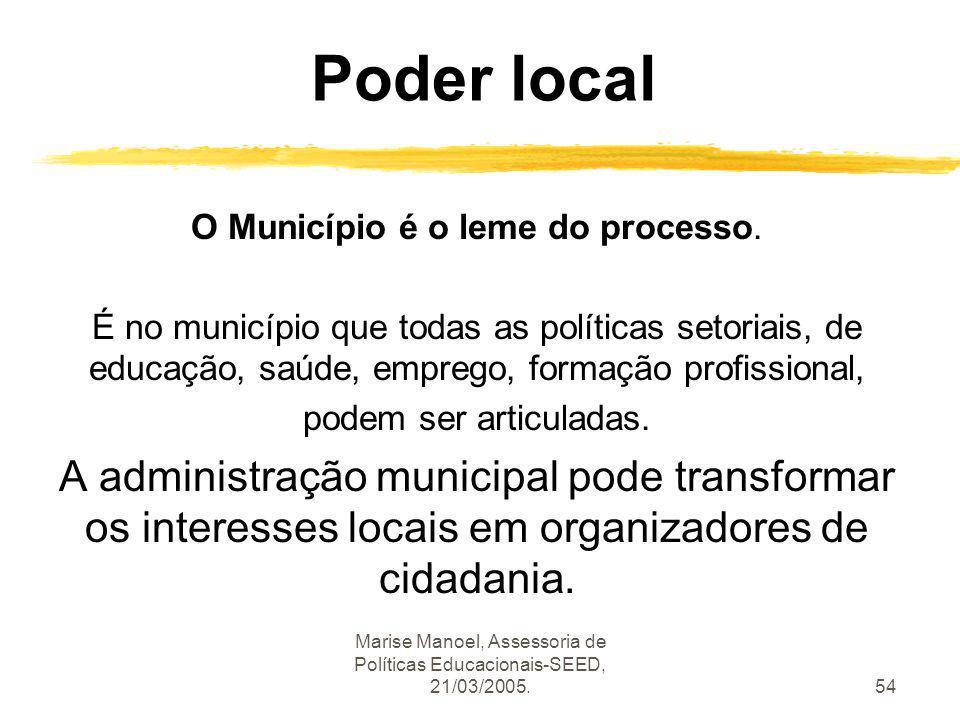 Poder local O Município é o leme do processo.