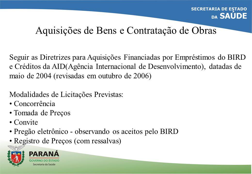 Aquisições de Bens e Contratação de Obras