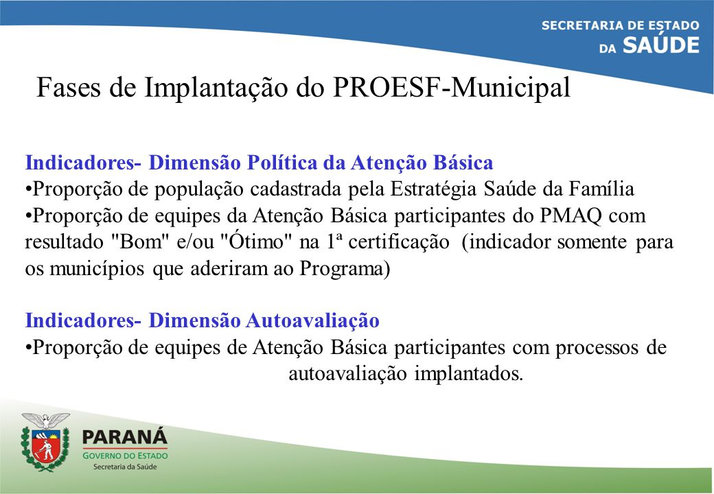 Fases de Implantação do PROESF-Municipal