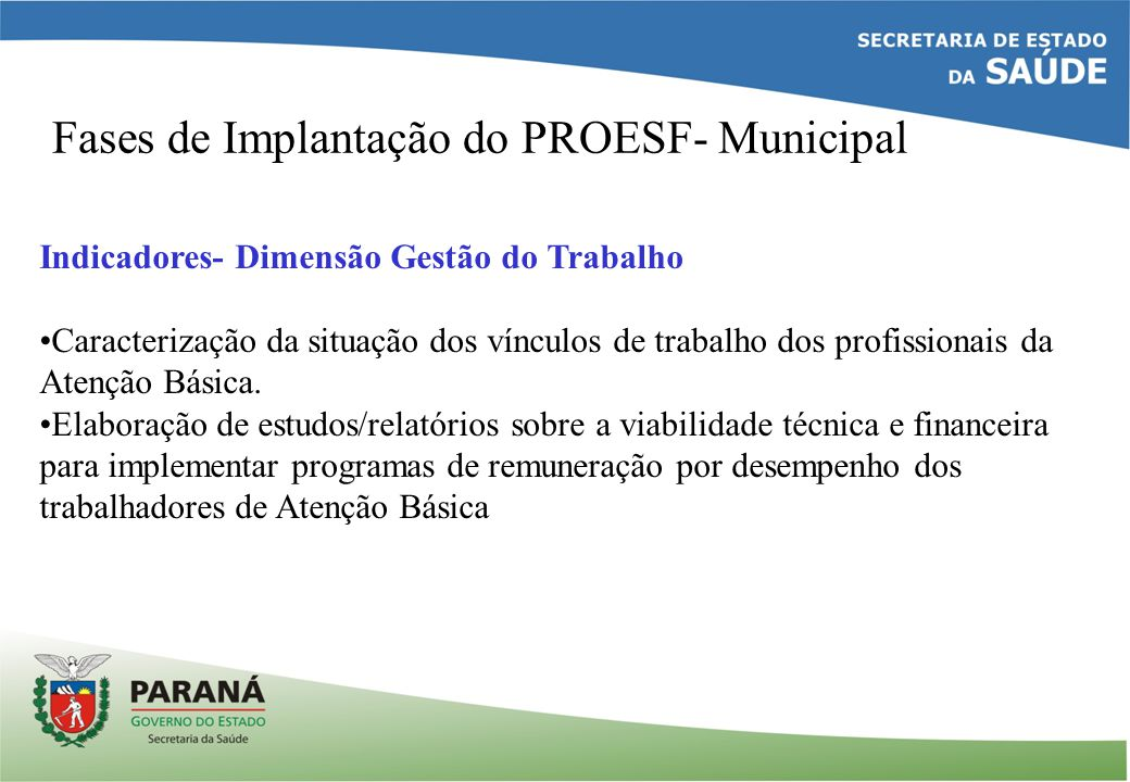 Fases de Implantação do PROESF- Municipal