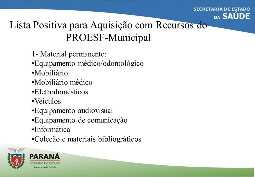 Lista Positiva para Aquisição com Recursos do PROESF-Municipal