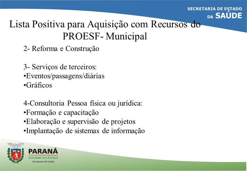 Lista Positiva para Aquisição com Recursos do PROESF- Municipal