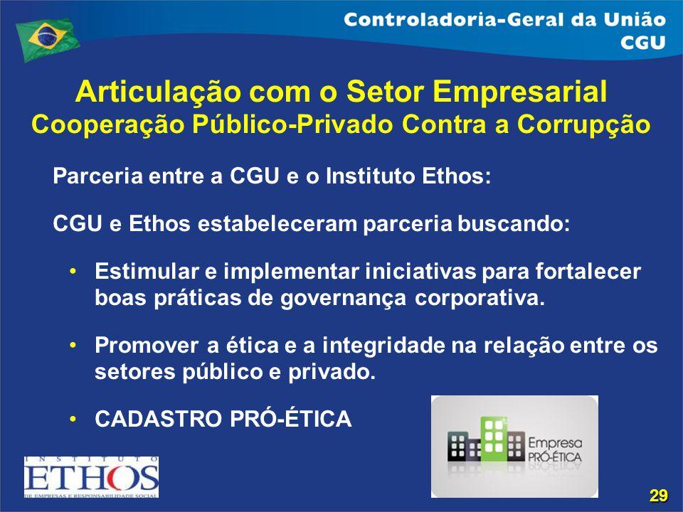 Articulação com o Setor Empresarial Cooperação Público-Privado Contra a Corrupção