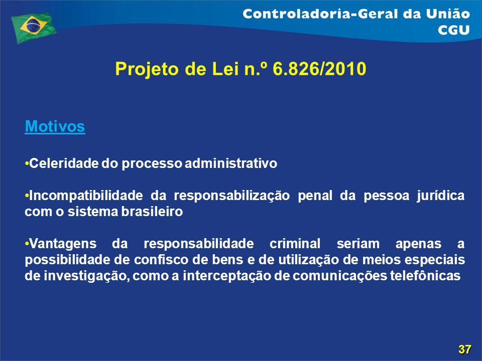 Projeto de Lei n.º 6.826/2010 Motivos