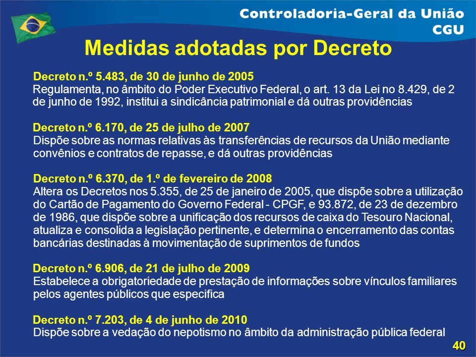 Medidas adotadas por Decreto