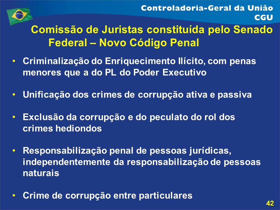 Comissão de Juristas constituída pelo Senado Federal – Novo Código Penal