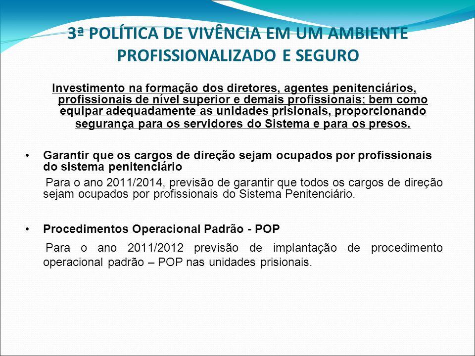 3ª POLÍTICA DE VIVÊNCIA EM UM AMBIENTE PROFISSIONALIZADO E SEGURO