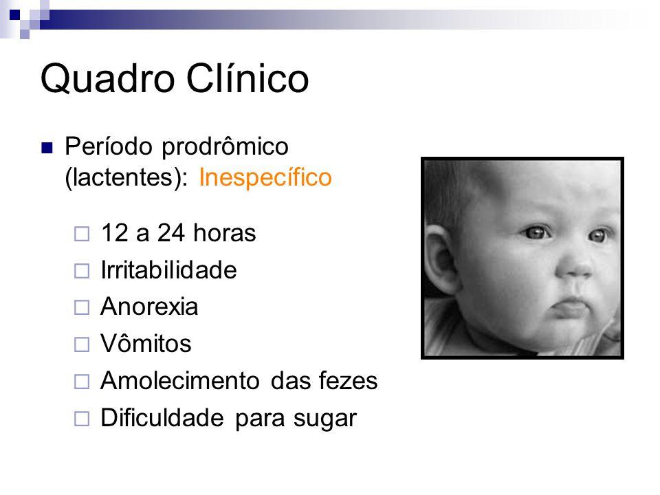 Quadro Clínico Período prodrômico (lactentes): Inespecífico