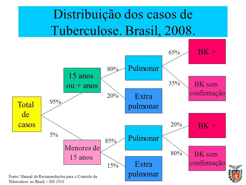Distribuição dos casos de Tuberculose. Brasil, 2008.