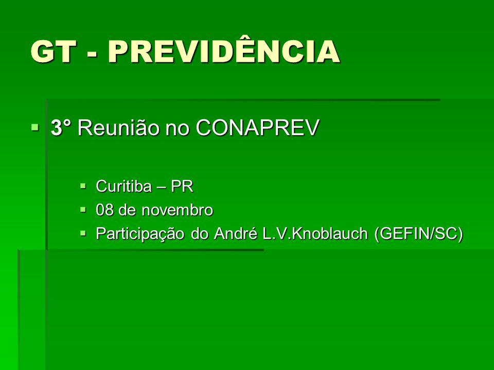 GT - PREVIDÊNCIA 3° Reunião no CONAPREV Curitiba – PR 08 de novembro
