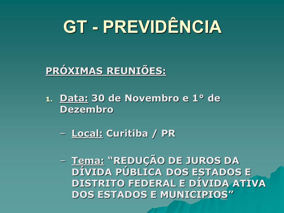 GT - PREVIDÊNCIA PRÓXIMAS REUNIÕES: