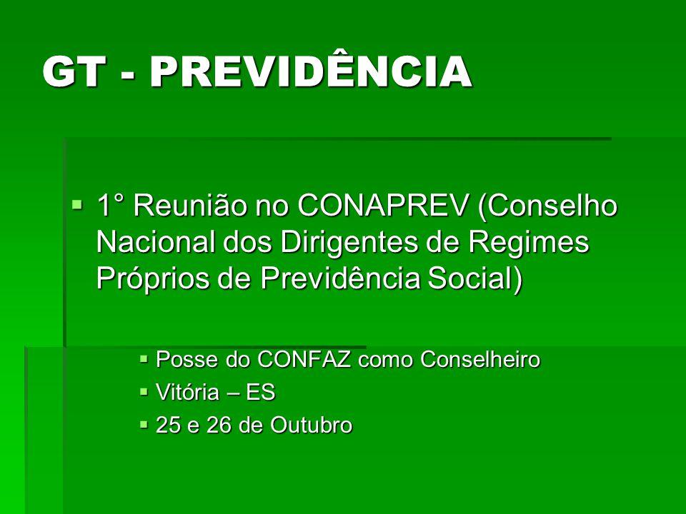 GT - PREVIDÊNCIA 1° Reunião no CONAPREV (Conselho Nacional dos Dirigentes de Regimes Próprios de Previdência Social)
