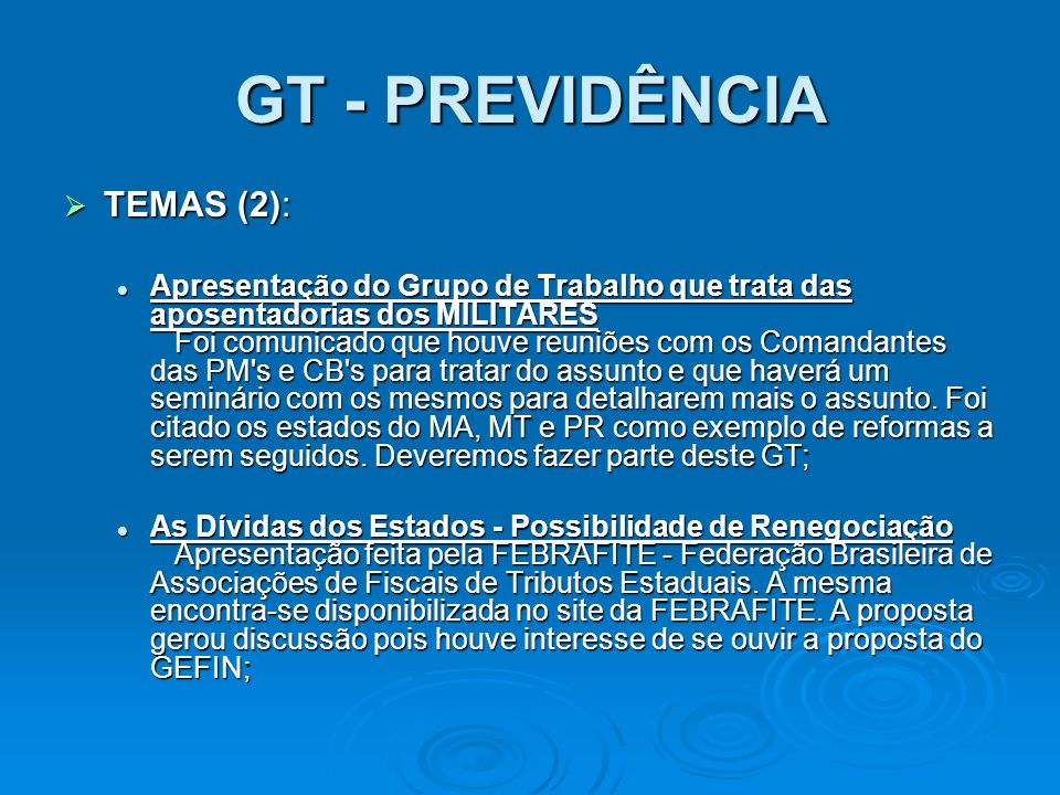 GT - PREVIDÊNCIA TEMAS (2):