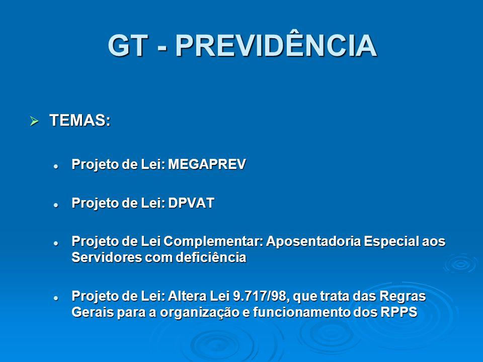 GT - PREVIDÊNCIA TEMAS: Projeto de Lei: MEGAPREV Projeto de Lei: DPVAT