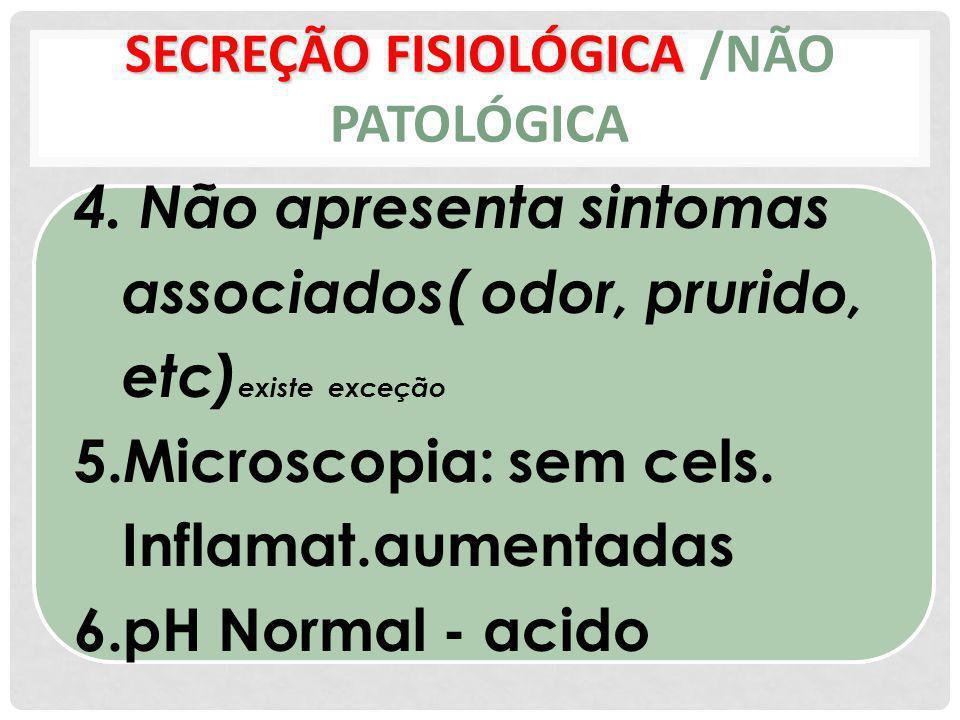 SECREÇÃO FISIOLÓGICA /NÃO PATOLÓGICA