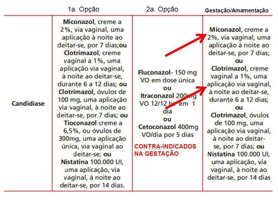 1a. Opção 2a. Opção Gestação/Amamentação CONTRA-INDICADOS NA GESTAÇÃO