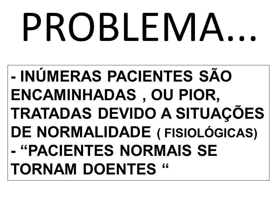 PROBLEMA... - INÚMERAS PACIENTES SÃO ENCAMINHADAS , OU PIOR, TRATADAS DEVIDO A SITUAÇÕES DE NORMALIDADE ( FISIOLÓGICAS)