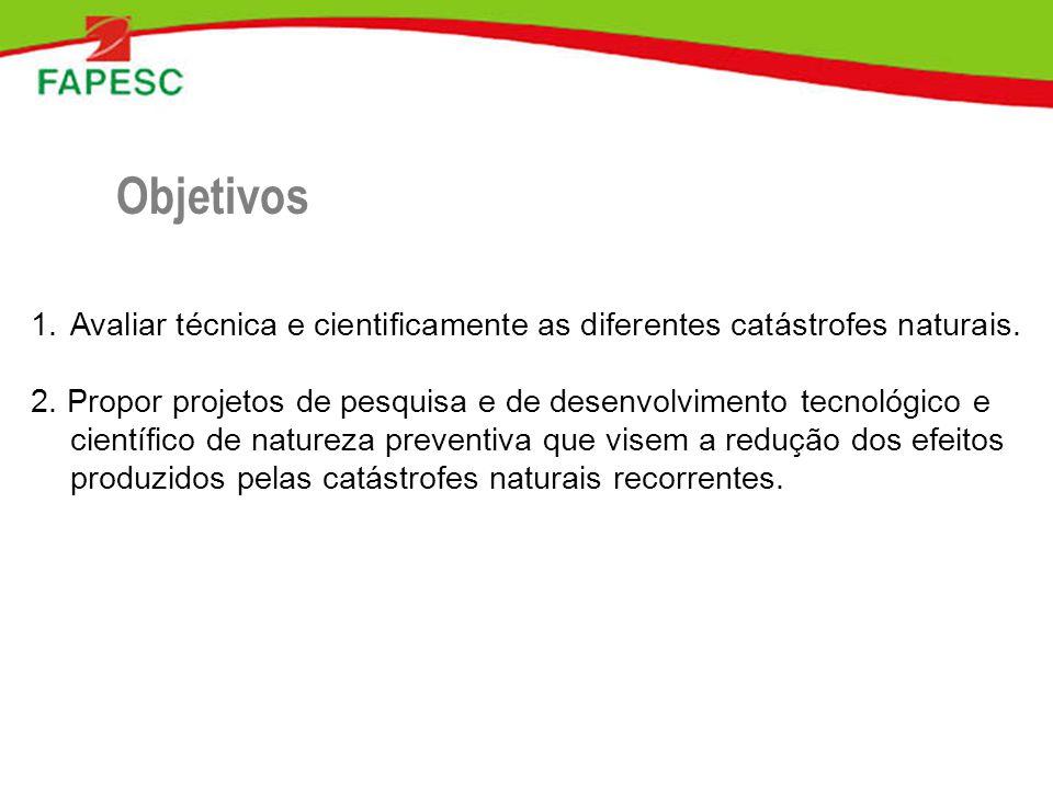 Objetivos Avaliar técnica e cientificamente as diferentes catástrofes naturais.