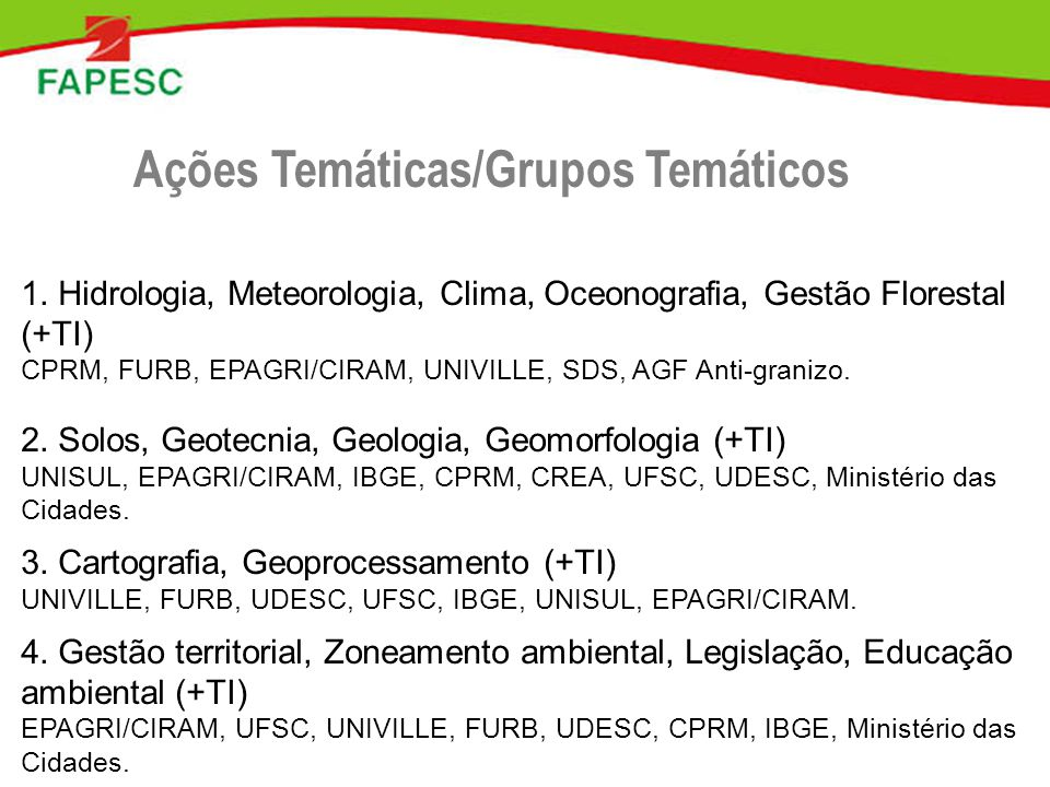 Ações Temáticas/Grupos Temáticos