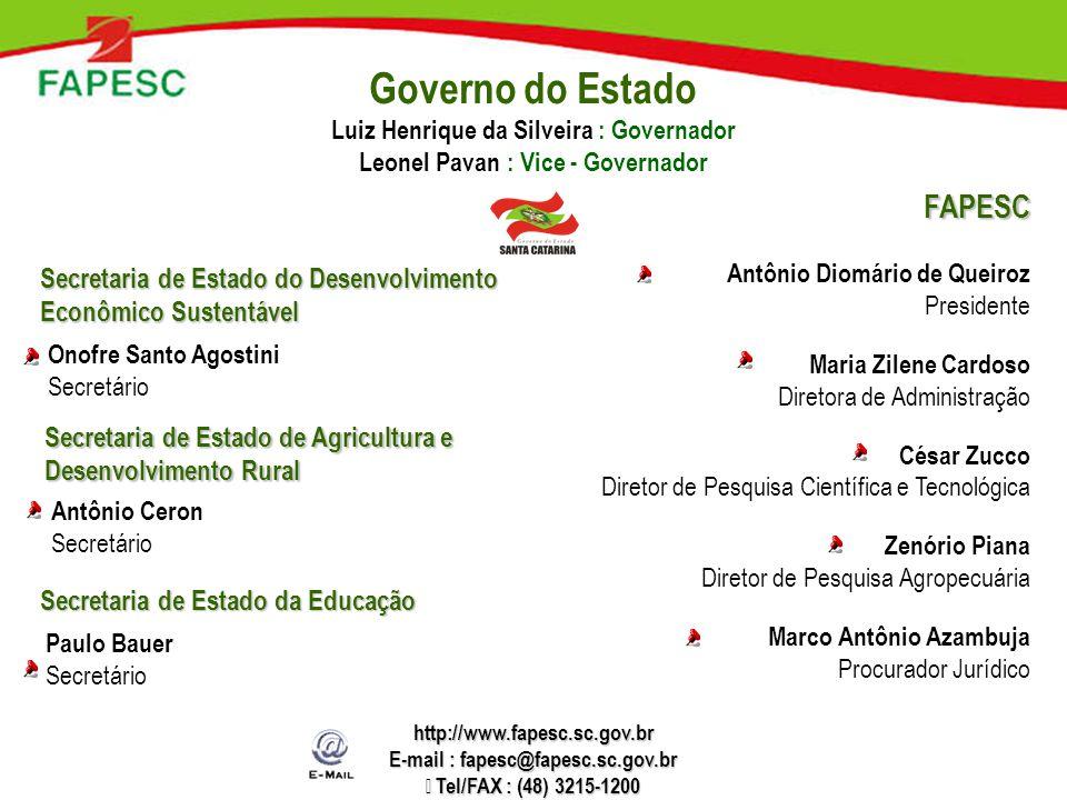 Governo do Estado Luiz Henrique da Silveira : Governador