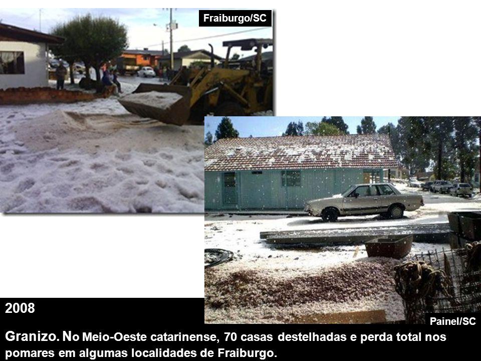 Fraiburgo/SC 2008. Granizo. No Meio-Oeste catarinense, 70 casas destelhadas e perda total nos pomares em algumas localidades de Fraiburgo.