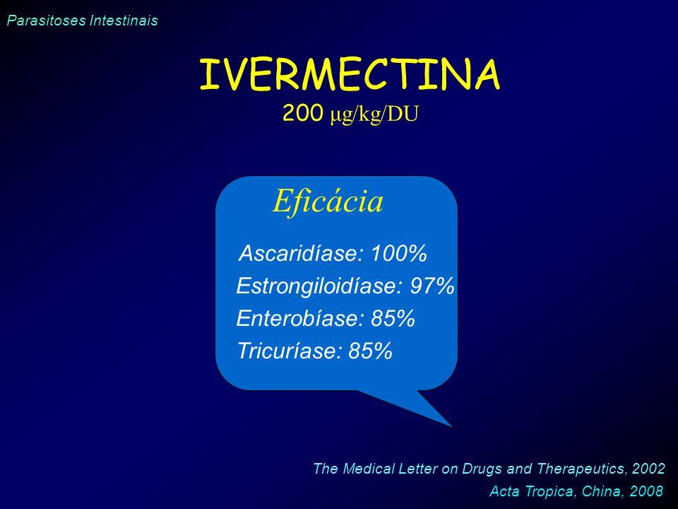 IVERMECTINA Eficácia 200 μg/kg/DU Ascaridíase: 100%