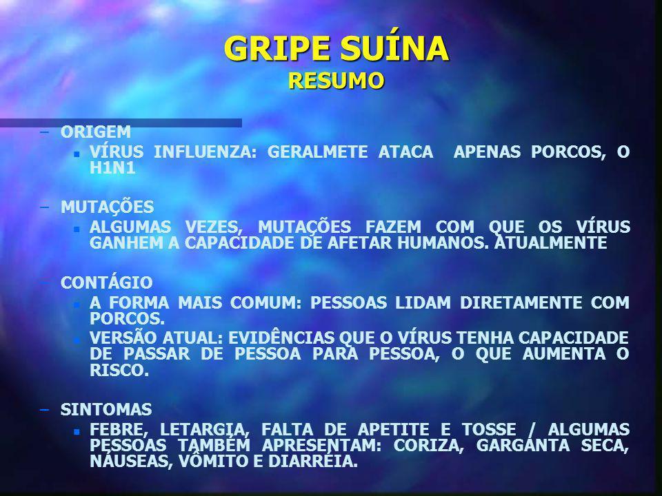 GRIPE SUÍNA RESUMO ORIGEM