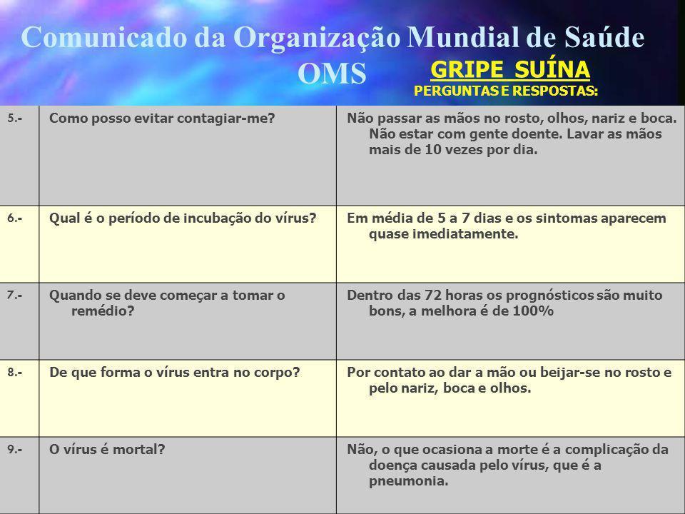 Comunicado da Organização Mundial de Saúde