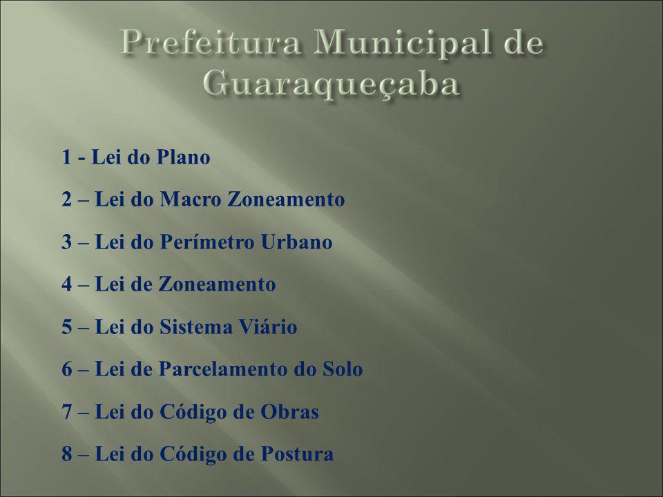 1 - Lei do Plano 2 – Lei do Macro Zoneamento. 3 – Lei do Perímetro Urbano. 4 – Lei de Zoneamento.