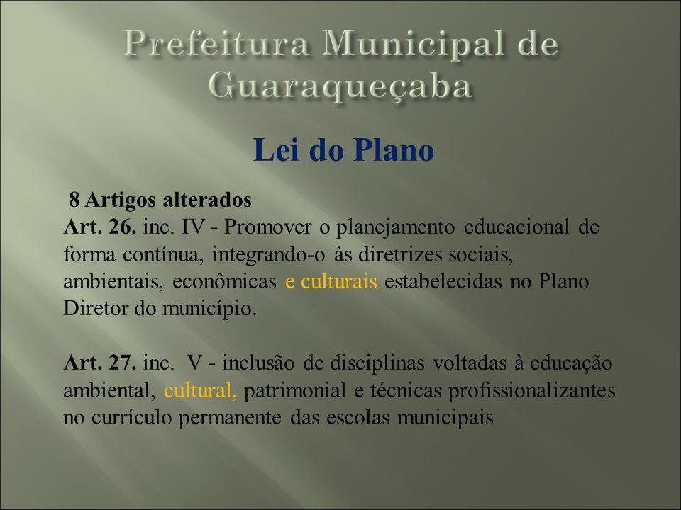 Lei do Plano 8 Artigos alterados