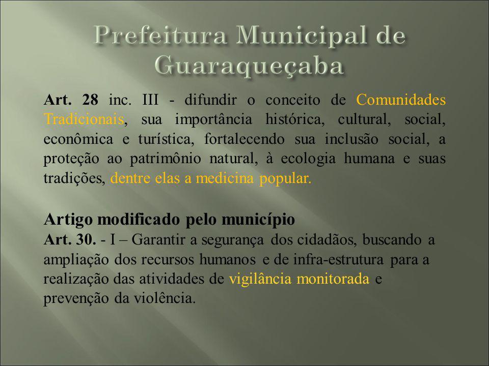 Artigo modificado pelo município
