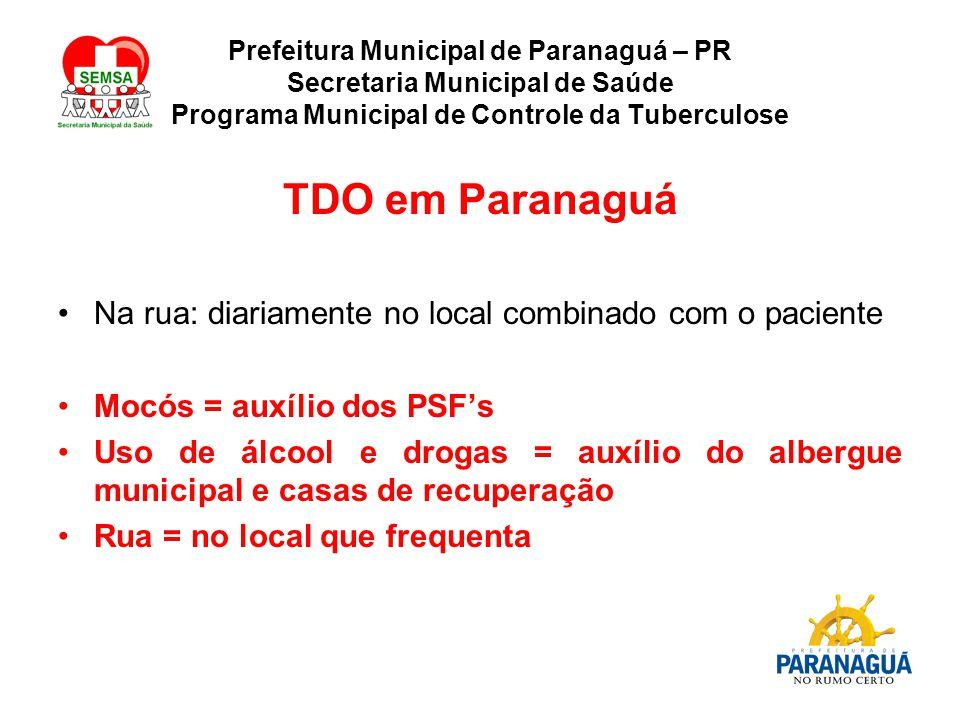 TDO em Paranaguá Na rua: diariamente no local combinado com o paciente