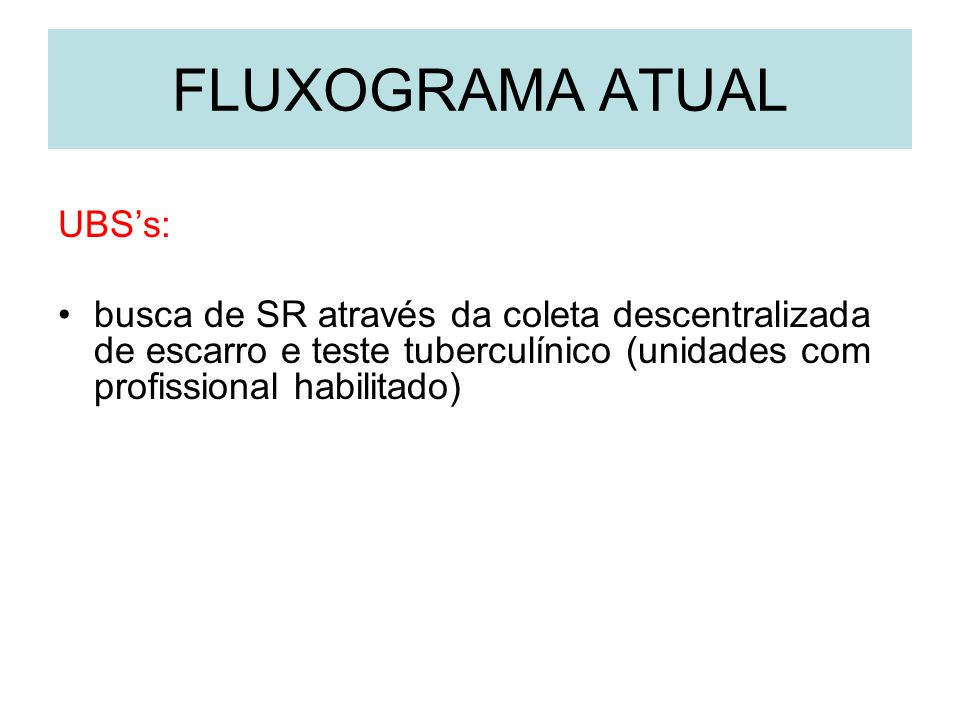 FLUXOGRAMA ATUAL UBS's: