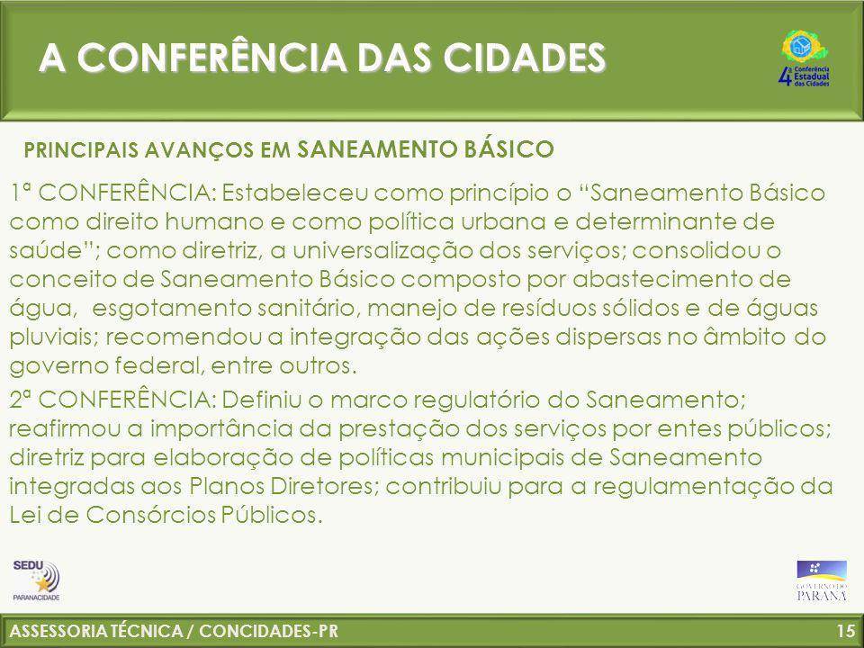 A CONFERÊNCIA DAS CIDADES