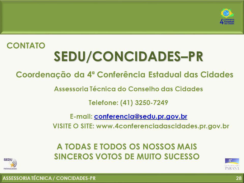 SEDU/CONCIDADES–PR CONTATO