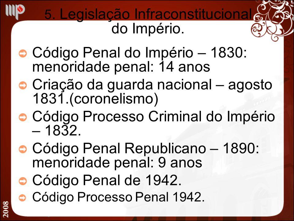 5. Legislação Infraconstitucional do Império.