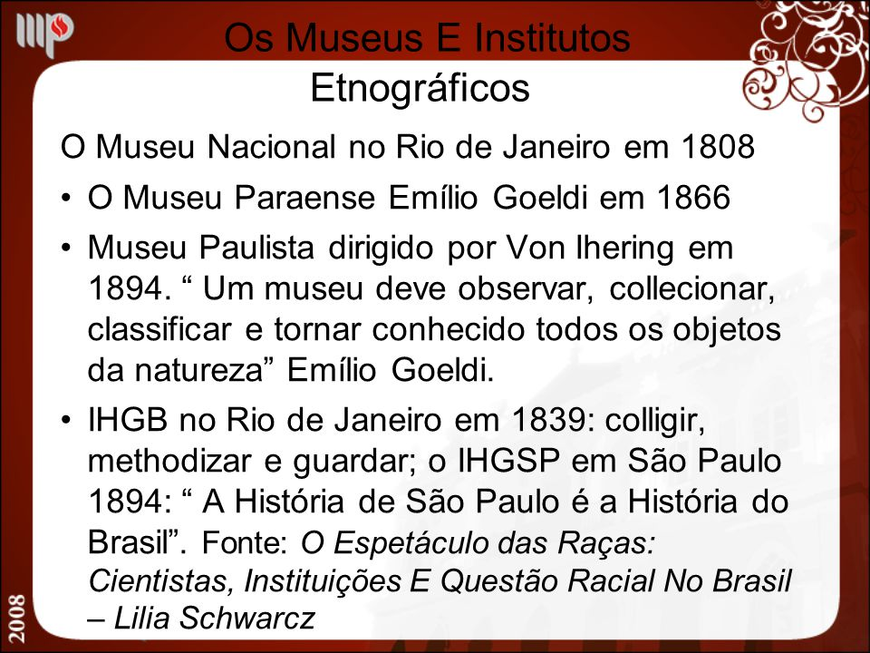 Os Museus E Institutos Etnográficos
