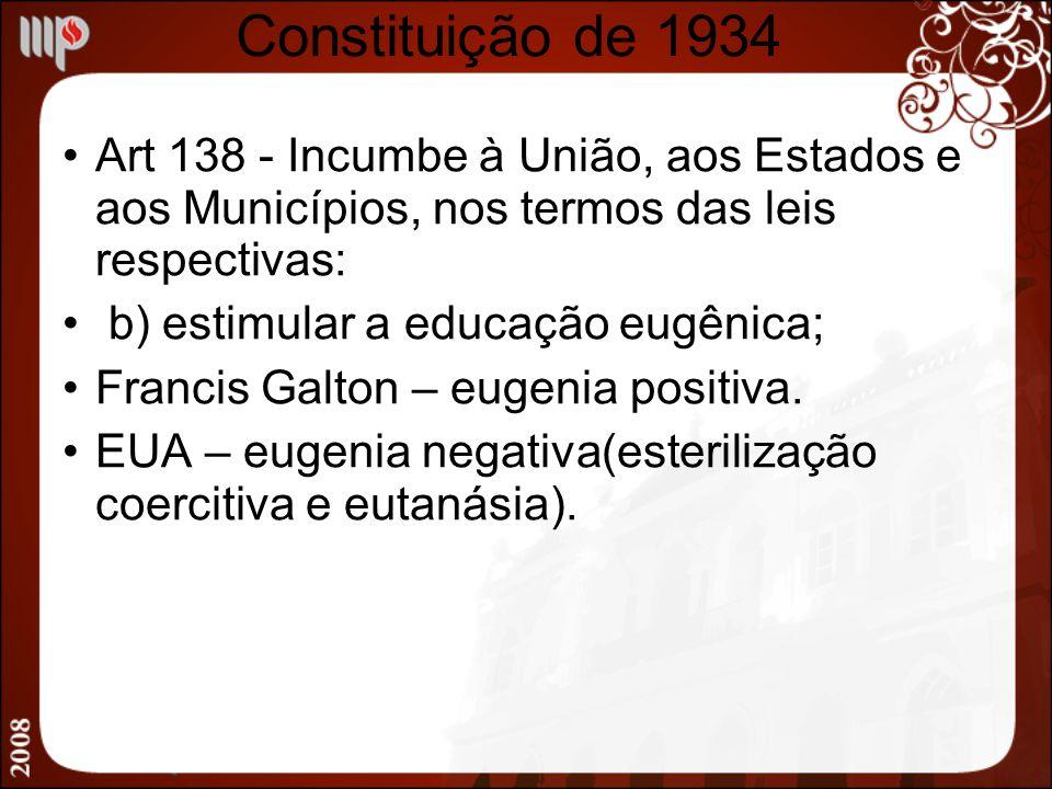 Constituição de 1934 Art 138 - Incumbe à União, aos Estados e aos Municípios, nos termos das leis respectivas: