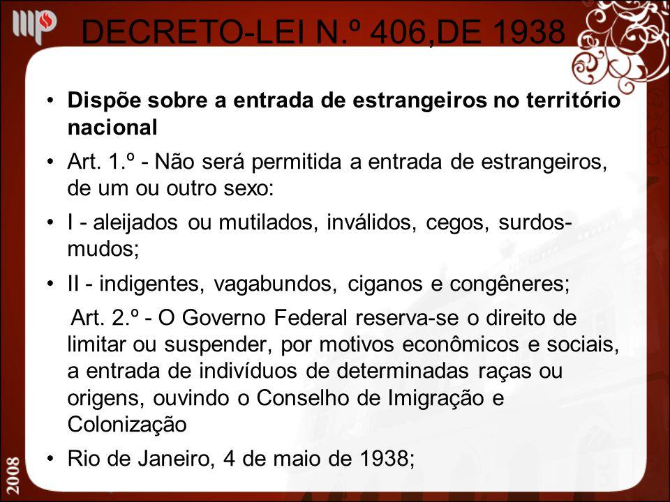 DECRETO-LEI N.º 406,DE 1938 Dispõe sobre a entrada de estrangeiros no território nacional.